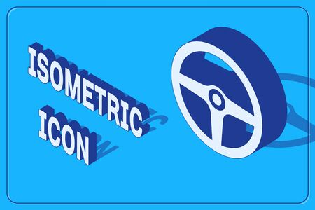 Isometric Steering wheel icon isolated on blue background. Car wheel icon. Vector Illustration