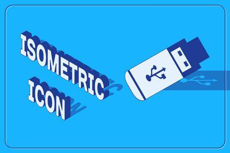 Isometric USB flash drive icon isolated on blue background. Vector Illustration 向量圖像