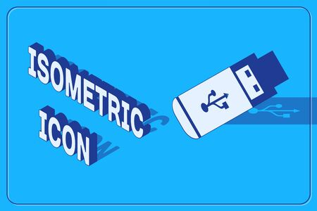 Isometric USB flash drive icon isolated on blue background. Vector Illustration Illustration