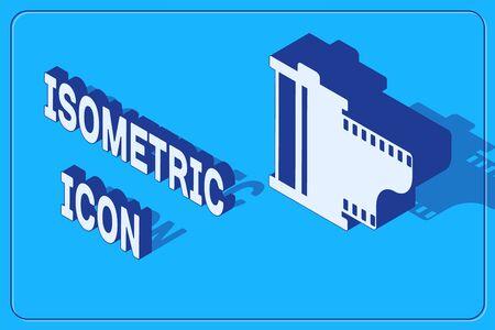 Isometric Camera vintage film roll cartridge icon isolated on blue background. Film reel. 35mm film canister. Filmstrip photographer equipment. Vector Illustration Illustration