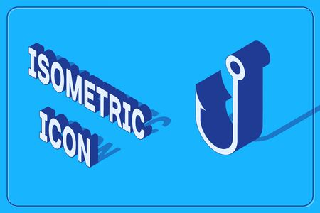 Isometric Fishing hook icon isolated on blue background. Vector Illustration
