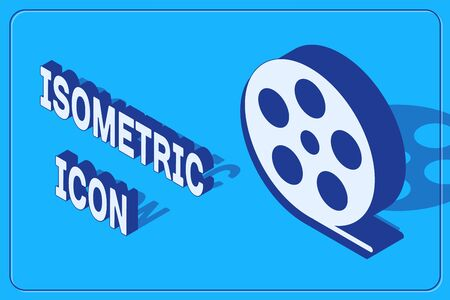 Isometric Film reel icon isolated on blue background. Vector Illustration