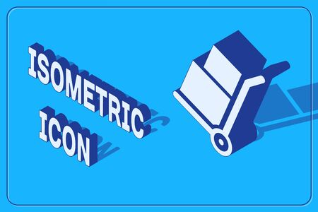 Isometric Hand truck and boxes icon isolated on blue background. Dolly symbol. Vector Illustration Stock Illustratie