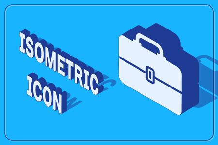 Isometric Toolbox icon isolated on blue background. Tool box sign. Vector Illustration Vectores