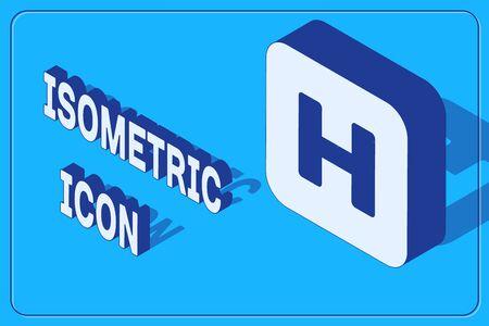 Isometric Hospital sign icon isolated on blue background. Vector Illustration