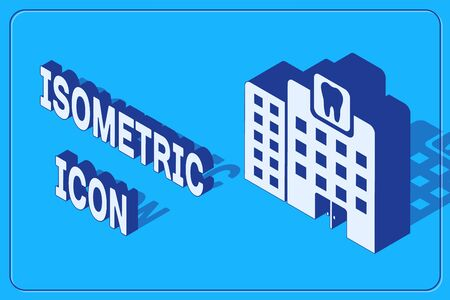 Isometric Dental clinic icon isolated on blue background. Dentistry center symbol. Vector Illustration