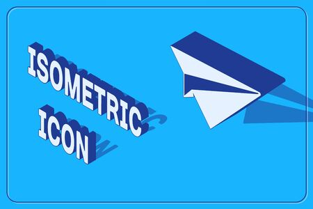 Isometric Paper plane icon isolated on blue background. Paper airplane icon. Aircraft sign. Vector Illustration Stock Illustratie