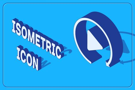 Isometric Video play button like simple replay icon isolated on blue background. Vector Illustration 일러스트