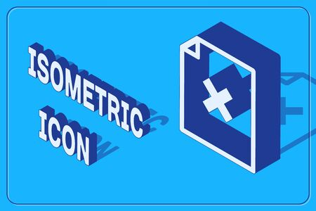 Isometric Delete file document icon isolated on blue background. Rejected document icon. Cross on paper. Vector Illustration