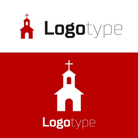 Red Church building icon isolated on white background. Christian Church. Religion of church. Logo design template element. Vector Illustration Çizim
