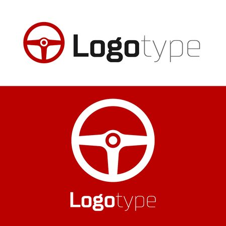 Red Steering wheel icon isolated on white background. Car wheel icon. Logo design template element. Vector Illustration