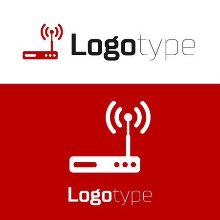 Red Router and wifi signal symbol icon isolated on white background. Wireless modem router. Computer technology internet. Logo design template element. Vector Illustration