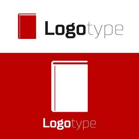 Red Book icon isolated on white background. Logo design template element. Vector Illustration