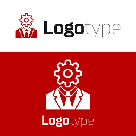 Red Human head with gear inside icon isolated on white background. Artificial intelligence. Thinking brain sign. Symbol work of brain. Logo design template element. Vector Illustration