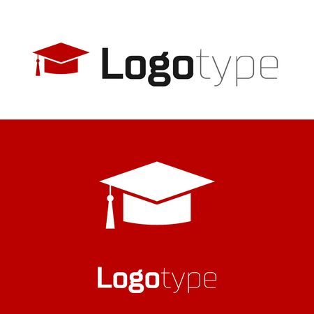 Red Graduation cap icon isolated on white background. Graduation hat with tassel icon. Logo design template element. Vector Illustration