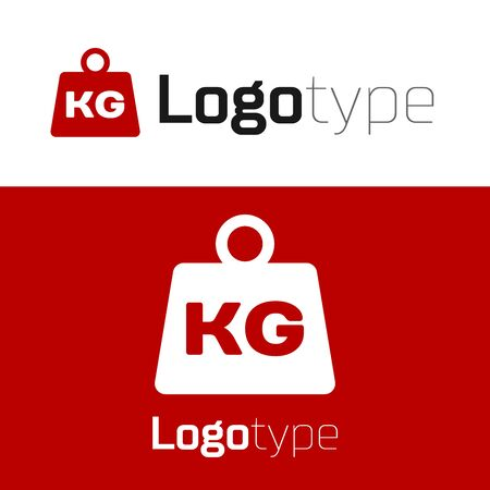 Red Weight icon isolated on white background. Kilogram weight block for weight lifting and scale. Mass symbol. Logo design template element. Vector Illustration