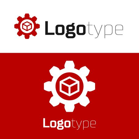 Red Product development icon isolated on white background. Gear and cube. Product development symbol design from Startup collection. Logo design template element. Vector Illustration