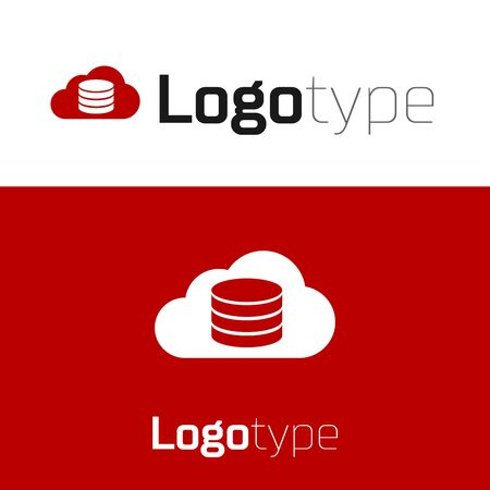 Red Cloud database icon isolated on white background. Cloud computing concept. Digital service or app with data transferring. Logo design template element. Vector Illustration Logó