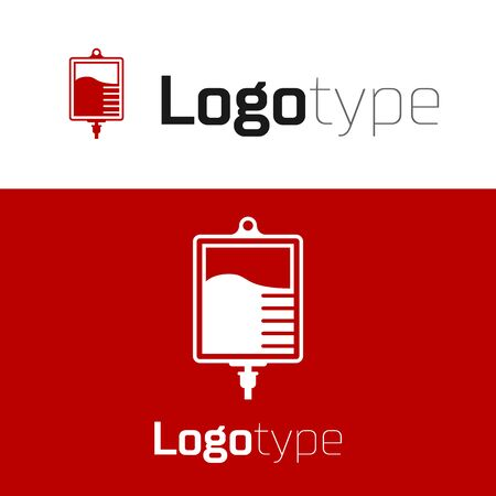 Red IV bag icon isolated on white background. Blood bag icon. Donate blood concept. The concept of treatment and therapy, chemotherapy. Logo design template element. Vector Illustration Illusztráció