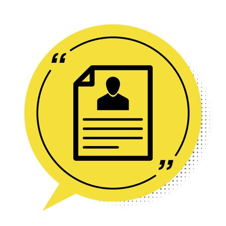 Black Resume icon isolated on white background. CV application. Searching professional staff. Analyzing personnel resume. Yellow speech bubble symbol. Vector Illustration  イラスト・ベクター素材