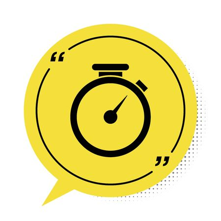 Black Stopwatch icon isolated on white background. Time timer sign. Yellow speech bubble symbol. Vector Illustration