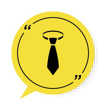 Black Tie icon isolated on white background. Necktie and neckcloth symbol. Yellow speech bubble symbol. Vector Illustration Vectores