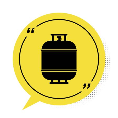 Black Propane gas tank icon isolated on white background. Flammable gas tank icon. Yellow speech bubble symbol. Vector Illustration Vectores