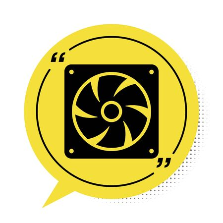 Black Computer cooler icon isolated on white background. PC hardware fan. Yellow speech bubble symbol. Vector Illustration