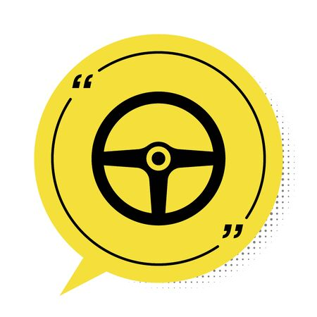 Black Steering wheel icon isolated on white background. Car wheel icon. Yellow speech bubble symbol. Vector Illustration Illustration