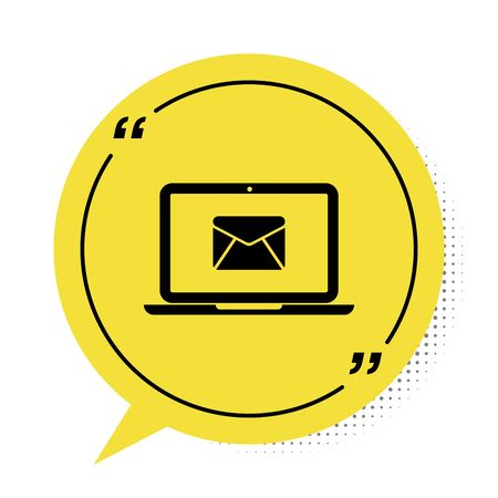Black Laptop with envelope and open email on screen icon isolated on white background. Email marketing, internet advertising concepts. Yellow speech bubble symbol. Vector Illustration