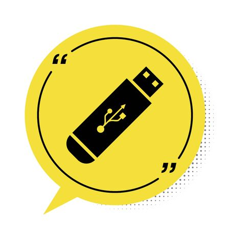 Black USB flash drive icon isolated on white background. Yellow speech bubble symbol. Vector Illustration Illustration