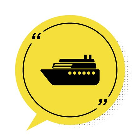 Black Ship icon isolated on white background. Yellow speech bubble symbol. Vector Illustration