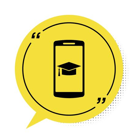 Black Graduation cap on screen smartphone icon isolated on white background. Online learning or e-learning concept. Yellow speech bubble symbol. Vector Illustration  イラスト・ベクター素材