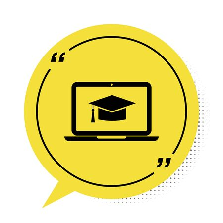 Black Graduation cap on screen laptop icon isolated on white background. Online learning or e-learning concept. Yellow speech bubble symbol. Vector Illustration 写真素材 - 132798463