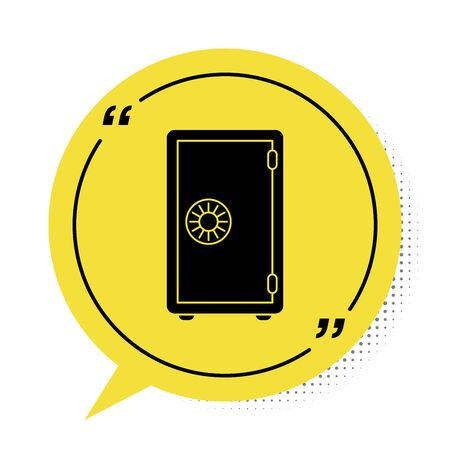 Black Safe icon isolated on white background. The door safe a bank vault with a combination lock. Reliable Data Protection. Yellow speech bubble symbol. Vector Illustration Vettoriali