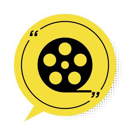 Black Film reel icon isolated on white background. Yellow speech bubble symbol. Vector Illustration Illustration