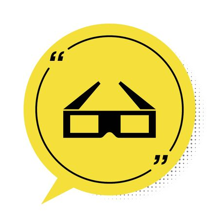Black 3D cinema glasses icon isolated on white background. Yellow speech bubble symbol. Vector Illustration