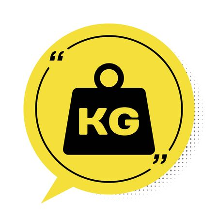 Black Weight icon isolated on white background. Kilogram weight block for weight lifting and scale. Mass symbol. Yellow speech bubble symbol. Vector Illustration