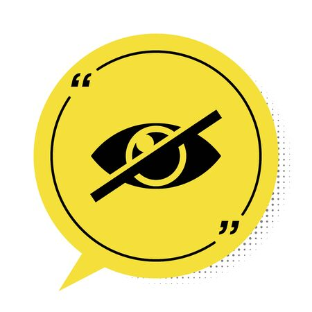 Black Invisible or hide icon isolated on white background. Yellow speech bubble symbol. Vector Illustration Illustration