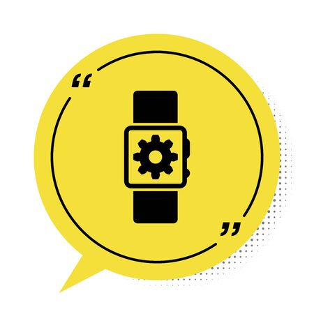 Black Smartwatch setting icon isolated on white background. Smart watch settings. Yellow speech bubble symbol. Vector Illustration