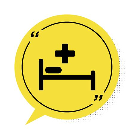 Black Hospital Bed with Medical symbol of the Emergency - Star of Life icon isolated on white background. Yellow speech bubble symbol. Vector Illustration
