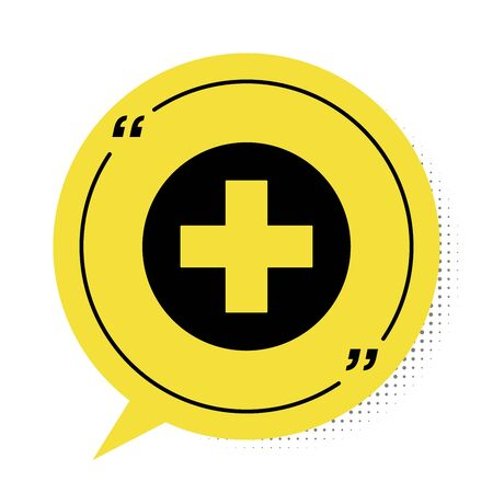 Black Medical cross in circle icon isolated on white background. First aid medical symbol. Yellow speech bubble symbol. Vector Illustration
