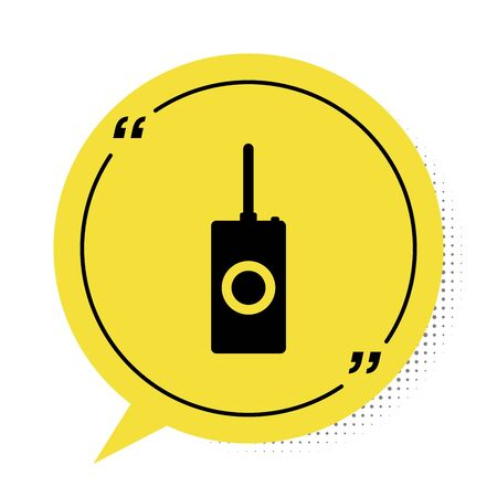 Black Remote control icon isolated on white background. Yellow speech bubble symbol. Vector Illustration