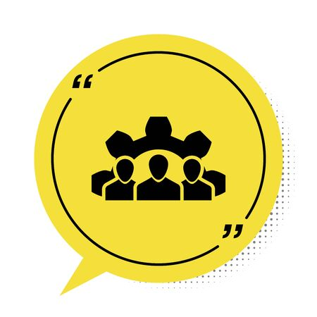 Black Project team base icon isolated on white background. Business analysis and planning, consulting, team work, project management. Yellow speech bubble symbol. Vector Illustration