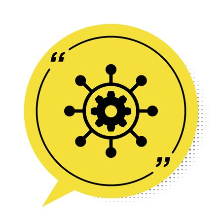 Black Project management icon isolated on white background. Hub and spokes and gear solid icon. Yellow speech bubble symbol. Vector Illustration