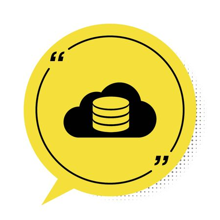 Black Cloud database icon isolated on white background. Cloud computing concept. Digital service or app with data transferring. Yellow speech bubble symbol. Vector Illustration
