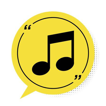 Black Music note, tone icon isolated on white background. Yellow speech bubble symbol. Vector Illustration Stock Illustratie