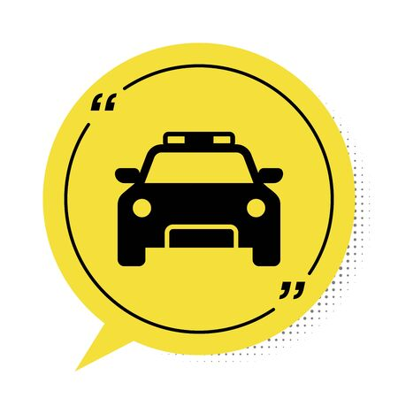 Black Police car and police flasher icon isolated on white background. Emergency flashing siren. Yellow speech bubble symbol. Vector Illustration Banque d'images - 132833009