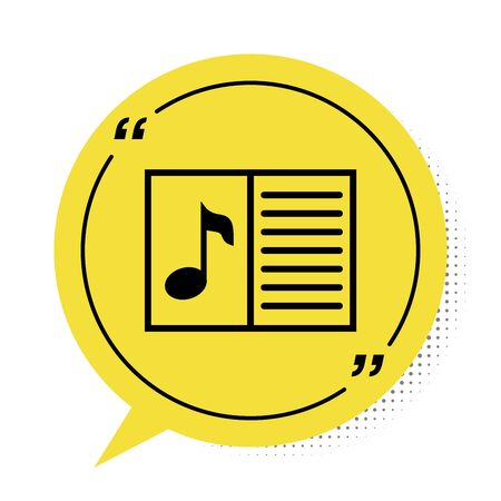 Black Music book with note icon isolated on white background. Music sheet with note stave. Notebook for musical notes. Yellow speech bubble symbol. Vector Illustration Stock Illustratie