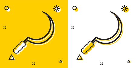 Black Sickle icon isolated on yellow and white background. Reaping hook sign. Random dynamic shapes. Vector Illustration